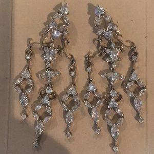 Jewelry - Rhinestone set in silver metal chandelier earrings